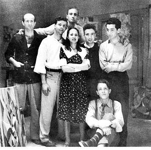 Carla Accardi - Forma 1 artists: Pietro Consagra, Mino Guerrini, Ugo Attardi, Carla Accardi, Achille Perilli, Carla's husband Antonio Sanfilippo, Giulio Turcato, and Piero Dorazio (sitting below).