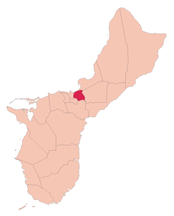 Location of Mongmong-Toto-Maite within the Territory of Guam.