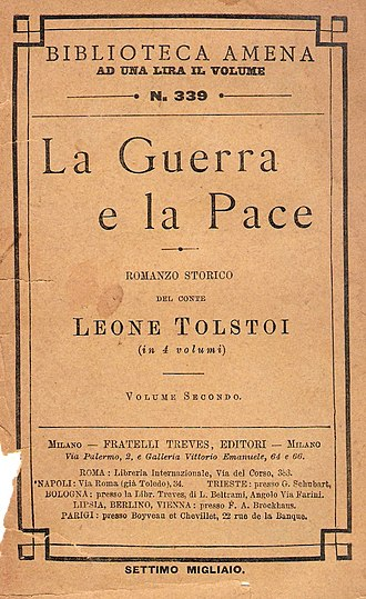 War and Peace - Cover of War and Peace, Italian translation, 1899.