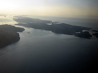 Gulf Islands National Park Reserve - Aerial view of several Gulf Islands.