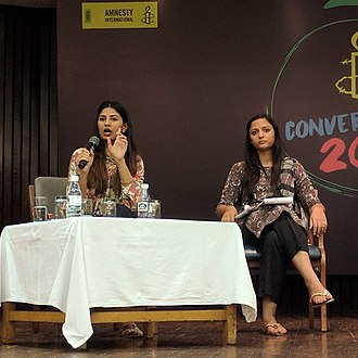Gurmehar Kaur - Gurmehar Kaur (left) at an Amnesty International event, Conversations 18', in New Delhi. Shehla Rashid (right) also pictured.