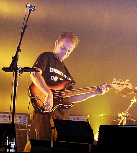Guy Pratt, a professional session musician, playing bass guitar. Guy Pratt On An Island Tour Cropped.png