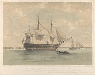 HMS Caledonia (1808) - Image: H.M.S. Caledonia, 120guns, lying in Plymouth Sound RMG PY0771