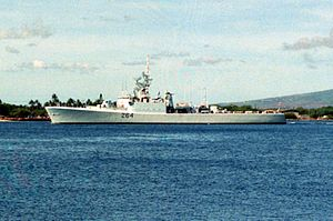 HMCS Qu'Appelle (DDE 264) at Pearl Harbor 1990.JPEG