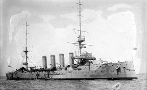 Devonshire-class cruiser (1903) - Image: HMS Antrim LOC ggbain 19125