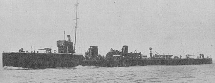 HMS Badger was the first destroyer to successfully ram a submarine HMS Badger (1911).jpg
