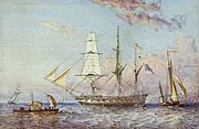 HMS Rattlesnakeby the ship's artist Oswald Brierly