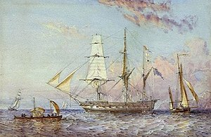 Dunk Island - HMS Rattlesnake, painted by Sir Oswald Walters Brierly, 1853.