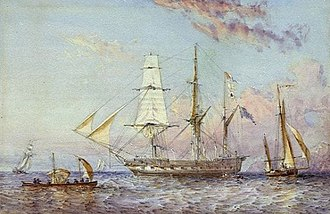 Oswald Walters Brierly - HMS ''Rattlesnake'', painted  1853.