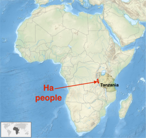Ha people - Geographic origins of the Ha people (approx)