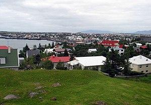 Hafnarfjörður - May 2008 view over Hafnarfjörður's town center