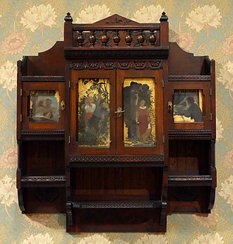 Benjamin Pitman - Image: Hanging Cabinet by Benn Pitman designer, Emma Marqua carver, and Charles T. Webber painter, American black walnut, white oak, painted panels, brass Cincinnati Art Museum DSC03037