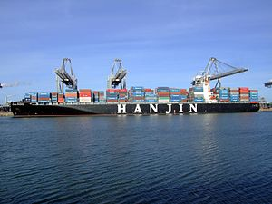 Hanjin budapest p2, at the Amazone harbour, Port of Rotterdam, Holland 14-Jan-2007.jpg