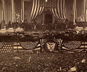 Inauguration of Benjamin Harrison - Harrison takes the oath of office.