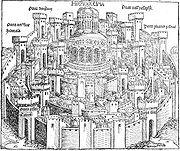 Hierosolima, de Hartmann Schedel, � a mais antiga ilustra��o impressa de Jerusal�m (do Liber Cronicarum)