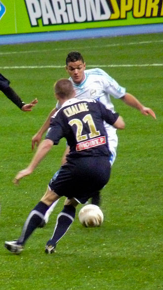 Hatem Ben Arfa - Ben Arfa taking on Bordeaux defender Matthieu Chalmé.