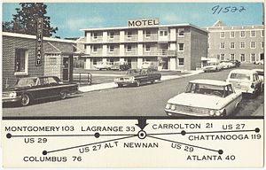 "Newnan, Georgia - ""Heart of Newnan Motel"", postcard from the 1960s"