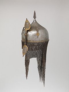 Middle Eastern helmet that generally has a sliding nose guard, two plume holders and a spike on top, with a chainmail neck guard
