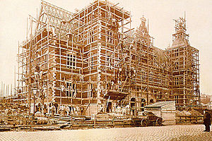 Helsingør Station - The railway station under construction in 1891