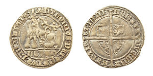 Anthony, Duke of Brabant - AR Gros or ½ Botdrager, struck in Leuven under Anthony, Duke of Brabant.