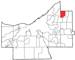 Location of Highland Heights in Cuyahoga County