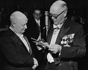 Paul Hindemith - Hindemith (to the left) received the Wihuri Sibelius Prize in 1955 from Antti Wihuri.