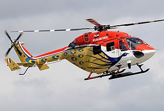 HAL Dhruv - Dhruv helicopter of the Indian Air Forces, Sarang Helicopter Display Team in 2008 at RAF Fairford.