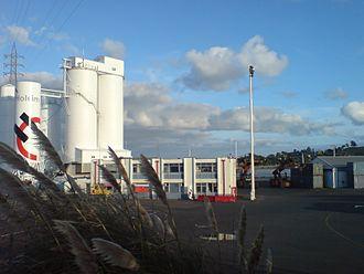 Holcim - Holcim depot on the Port of Onehunga grounds, Manukau Harbour, Auckland, New Zealand.