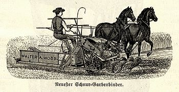 Horse-drawn reaper-binder, Walter A. Wodd, 19th century illustration.jpg