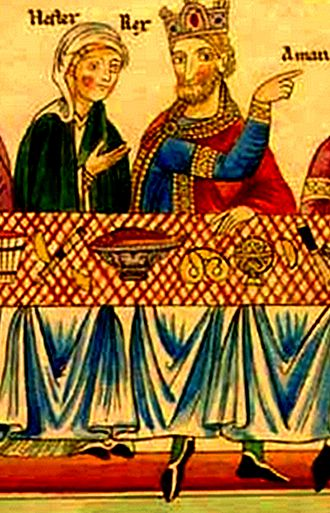Regional cuisines of medieval Europe - Queen Esther and King Ahasuerus depicted dining on, among other things, a fish dish and a pretzel; illustration from Hortus deliciarum, Alsace, late 12th century.