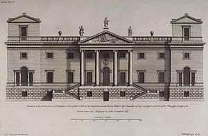 Houghton Hall - The façade of Houghton Hall from Colen Campbell's Vitruvius Britannicus. The corner towers were replaced with domes in the final design.