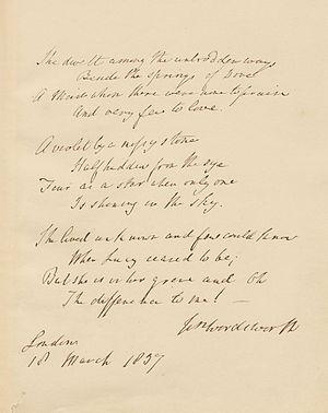 "She dwelt among the untrodden ways - 1837 manuscript of ""She dwelt among the untrodden ways"""