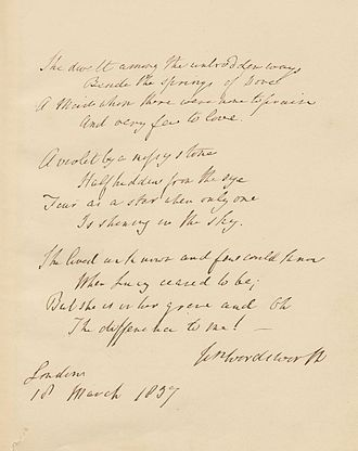 "She dwelt among the untrodden ways - 1837 manuscript of ""She dwelt among the untrodden ways"""