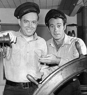 "Riverboat (TV series) - Broadcaster Hugh Downs (left) and Darren McGavin in the Riverboat episode, ""Night of the Faceless Men"" (1960)"