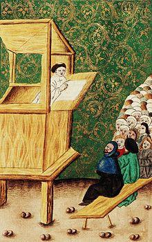 Un homme prêche depuis une chaire de bois, son auditoire assis à la gauche de la peinture.