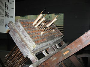 Multiple rocket launcher - Korean Joseon hwacha multiple rocket launcher (designed in 1409) in a museum.