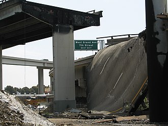 MacArthur Maze - A portion of Interstate 580 following the collapse.