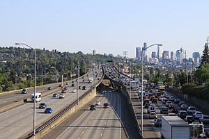 I-5 southbound traffic from NE 45th Street in Seattle.jpg