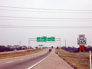 Interstate 265 - State Road 265 (future I-265) at its former eastern terminus at State Road 62 (this interchange has since been reconfigured).