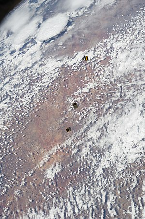 ArduSat - ArduSat-1, ArduSat-X and PicoDragon photographed from the ISS after their launch on Nov. 19, 2013.