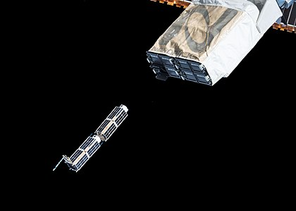 CubeSats are deployed from the NanoRacks CubeSat Deployer on the ISS.