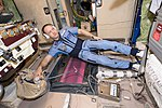 ISS-53 Aleksandr Misurkin with ENose inside the Zvezda service module.jpg