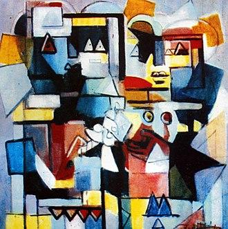 Ibrahim Kodra - Image: Ibrahim Kodra, The date, 1987 oil on canvas, 80x 100 cm