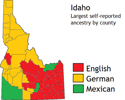 There are large numbers of Americans of German and English ancestry in Idaho. Idaho ancestry.png