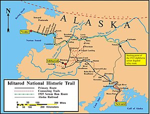 Iditarod Trail - Map of the historical and current Iditarod trails.
