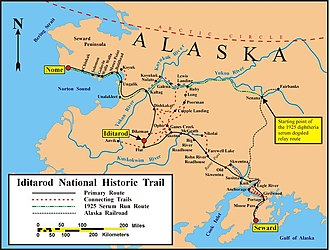 1925 serum run to Nome - Map of the historical and current Iditarod trails.