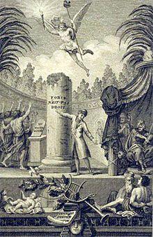 Un homme indique la maxime gravée sur une colonne. Le peuple acclame, deux puissants désapprouvent.