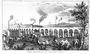 Stockport Viaduct - The viaduct circa 1854
