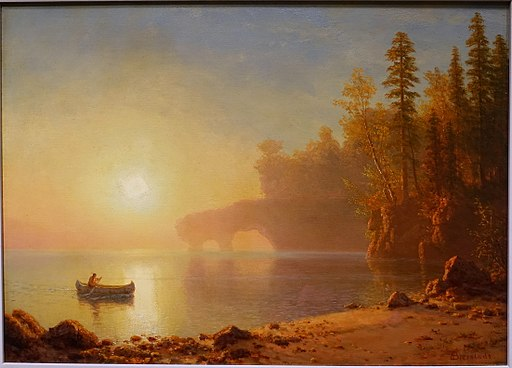 Indian Canoe by Albert Bierstadt, c. 1886, oil on canvas - Blanton Museum of Art - Austin, Texas - DSC08433