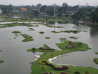 Taman Mini Indonesia Indah - The miniature of Indonesian Archipelago in the center lake viewed from the cable car.
